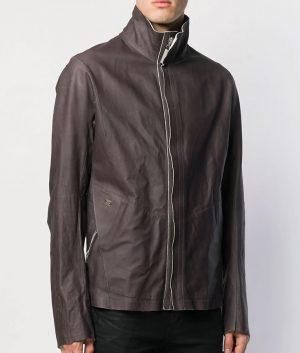 Bennett Mens Collar Slimfit Grey Leather Jacket