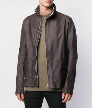 Bennett Mens Turn Down Collar Slimfit Leather Jacket