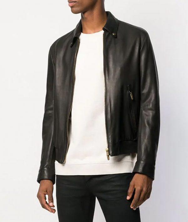 Benson Mens Turn Down Collar Zipped Black Leather Jacket