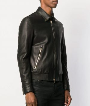 Benson Mens Collar Classic Zipped Black Leather Jacket