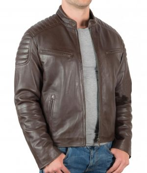 Billy Mens Slimfit Padded Shoulder Brown Biker Jacket