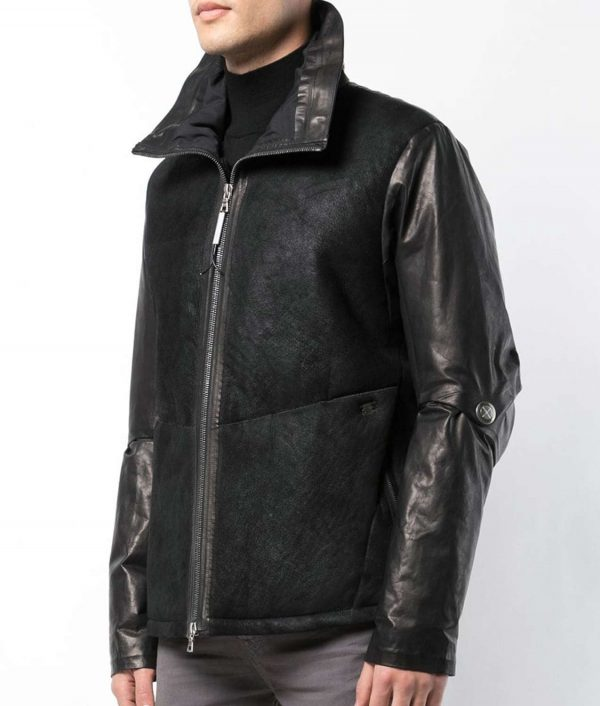Boykins Mens Collar Black Down Lined Leather Jacket