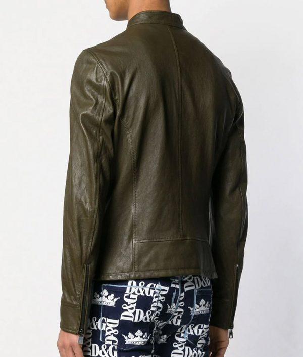 Brandon Mens Slimfit Cafe Racer Zipped Up Leather Jacket