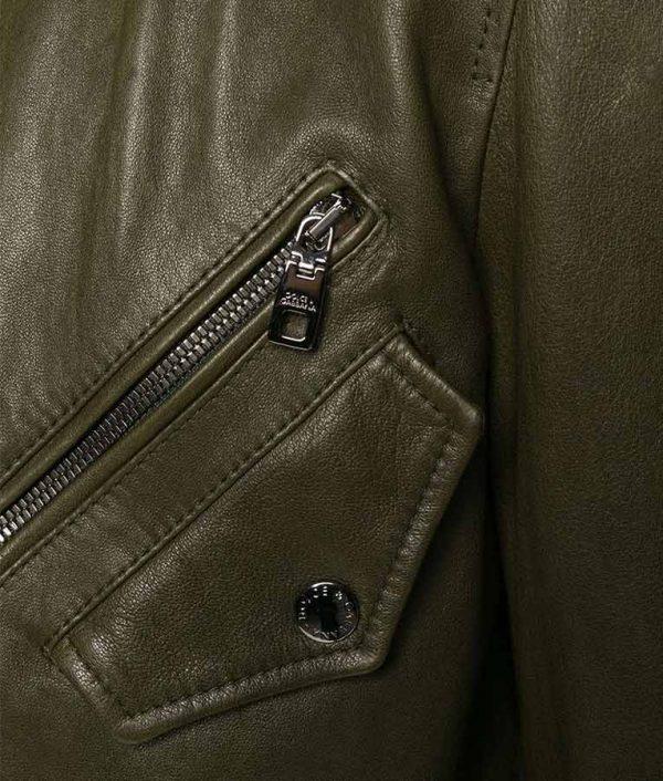 Brandon Mens Slimfit Cafe Racer Zipped Up Bomber Leather Jacket