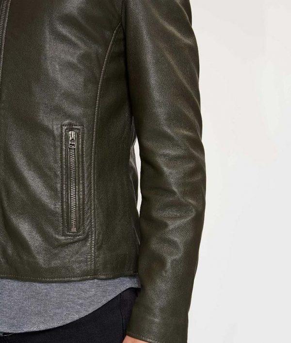 Briggs Mens Round Collar Tight fit Leaf Green Leather Biker Jacket