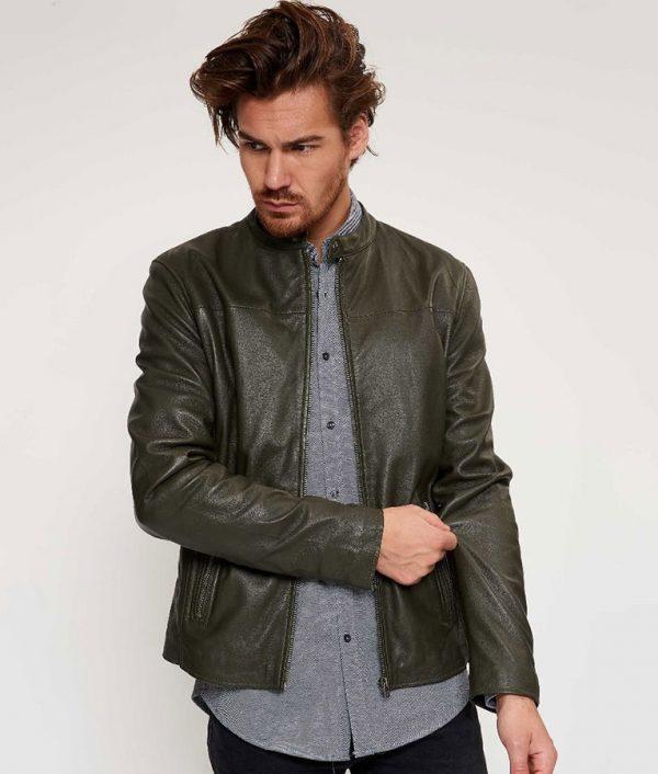 Briggs Mens Round Collar Tight fit Leaf Leather Biker Jacket