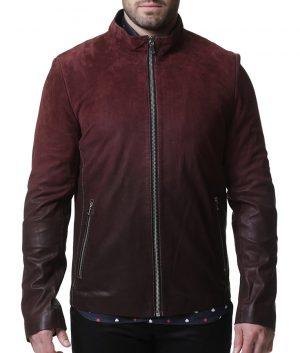 Mens Turn Down Collar Slimfit Maroon Leather Jacket
