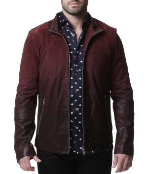 Brown Mens Turn Down Collar Slimfit Maroon Jacket