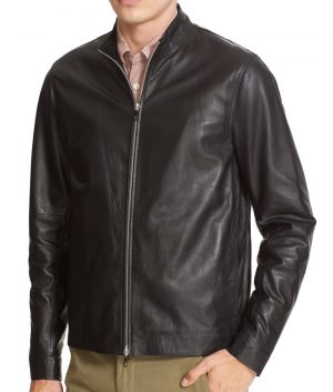 Burke Mens Turn Down Collar Slimfit Black Cafe Racer Leather Jacket