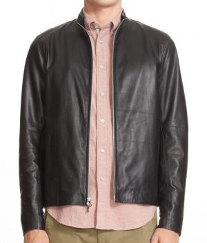 Burke Mens Turn Down Collar Slimfit Cafe Racer Leather Jacket