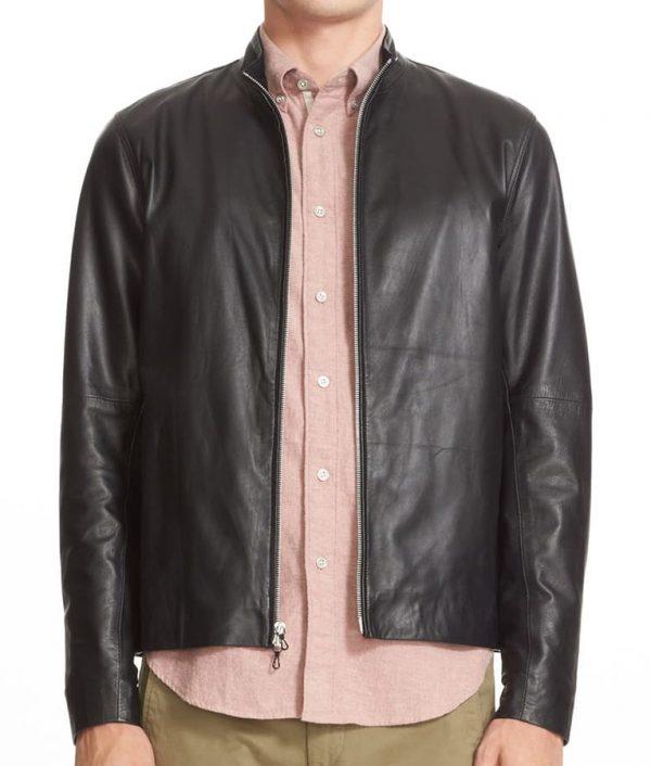 Burke Mens Turn Down Collar Slimfit Cafe Racer Leather Jacket