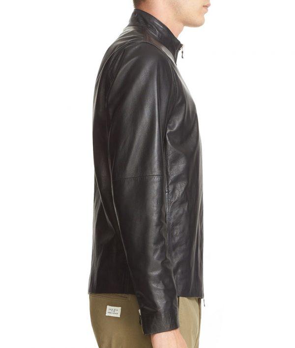 Mens Turn Down Collar Slimfit Black Cafe Racer Leather Jacket