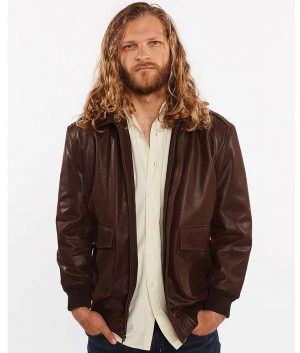 Cabrera Mens Cowhide Bomber Flight Genuine Leather Jacket