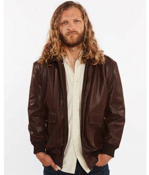 Cabrera Mens Cowhide Bomber Flight Genuine Leather Jacket