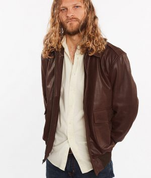 Mens Cowhide Bomber Flight Genuine Brown Leather Jacket