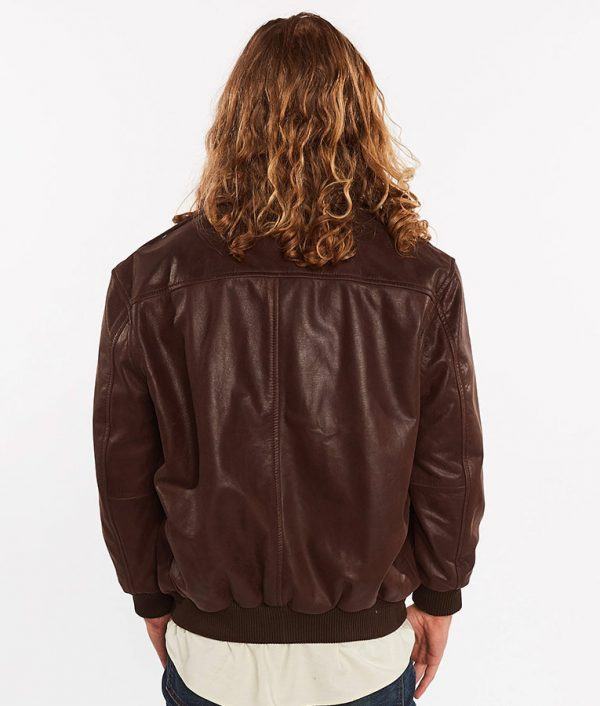 Cabrera Mens Cowhide Bomber Flight Genuine Brown Leather Jacket