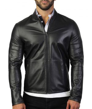 Carlisle Mens Slimfit Mandiran Collar Leather Jacket