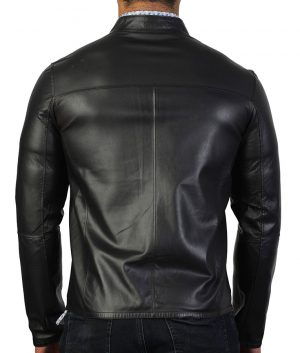 Carlisle Mens Slimfit Mandiran Collar Black Leather Jacket