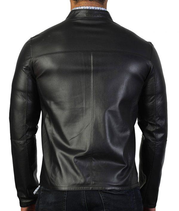 Carlisle Mens Slimfit Mandiran Collar Black Leather Jacket