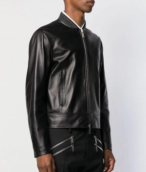 Mens Slimfit Stylish Black Classic Leather Jacket