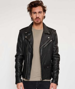 Cesar Mens Lapel Collar Motorcycle Style Leather Jacket