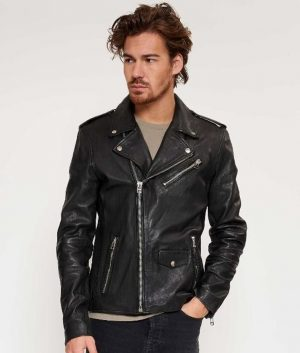 Cesar Mens Lapel Collar Slimfit Black Motorcycle Style Leather Jacket