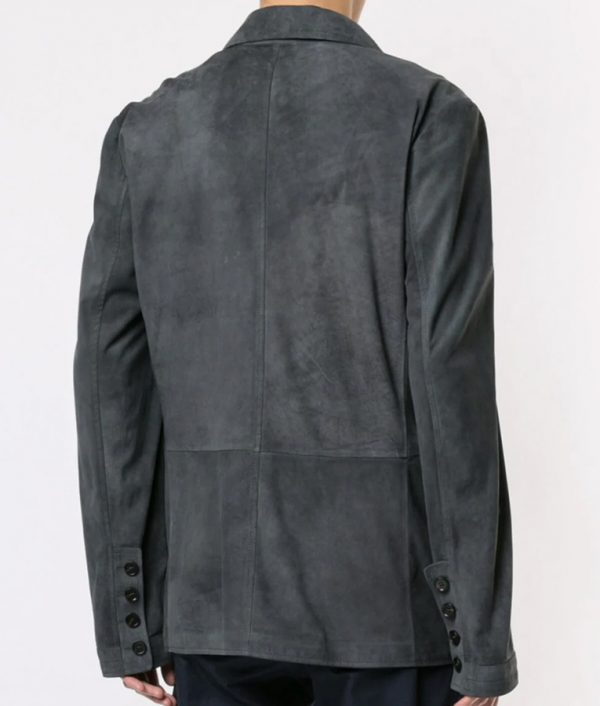 Chapman Mens Turn Down Collar Black Calf Buttoned Leather Jacket