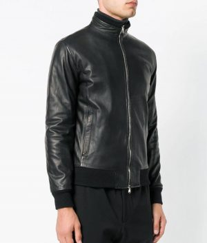 Chavez Mens Turn Down Collar Slimfit Black Bomber Leather Jacket