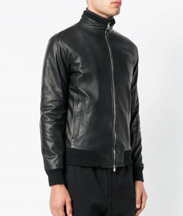 Chavez Mens Turn Down Collar Slimfit Black Bomber Leather Jacket