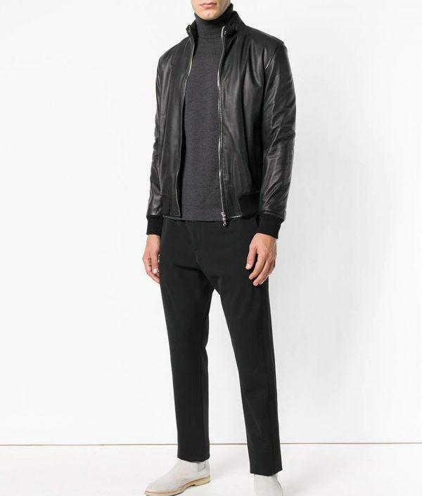 Mens Turn Down Collar Slimfit Black Bomber Leather Jacket
