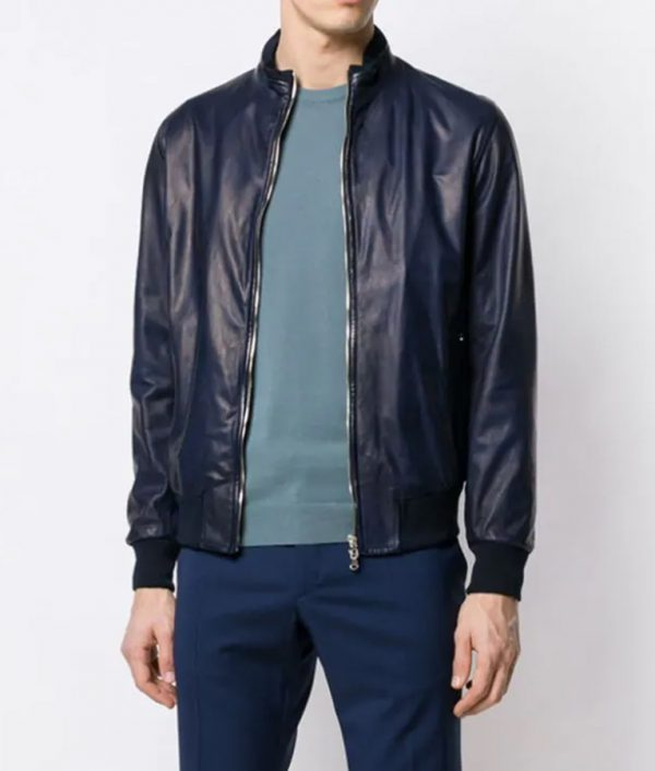 Christensen Mens Casual Style Slimfit Blue Leather Jacket