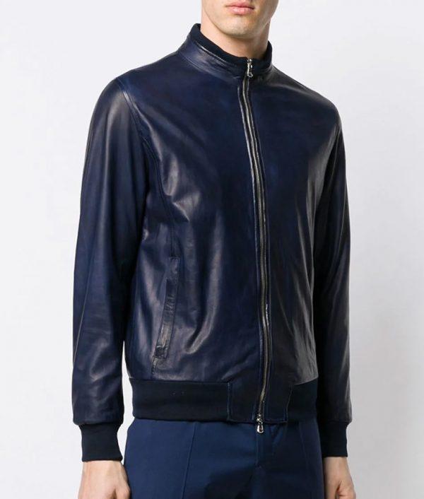 Christensen Mens Style Slimfit Blue Bomber Leather Jacket