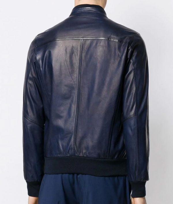 Christensen Mens Casual Slimfit Blue Bomber Leather Jacket