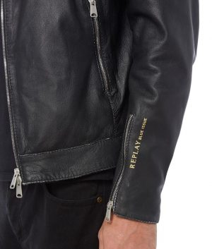 Mens Lapel Collar Slimfit Black Biker Style Leather Jacket