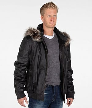 Mens Faux Fur Hooded Black Bomber Leather Jacket