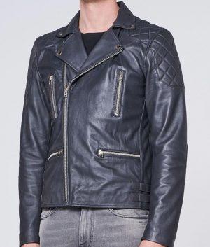 Citizen Mens Turn Down Collar Deep Grey Leather Biker Jacket