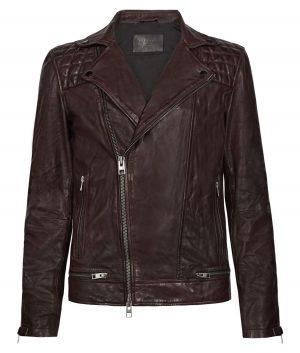 Clifford Mens Slimfit Lapel Collar Burgundy Leather Biker Jacket