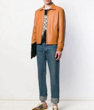 Mens Turn Down Collar Slimfit Camel Brown Leather Jacket