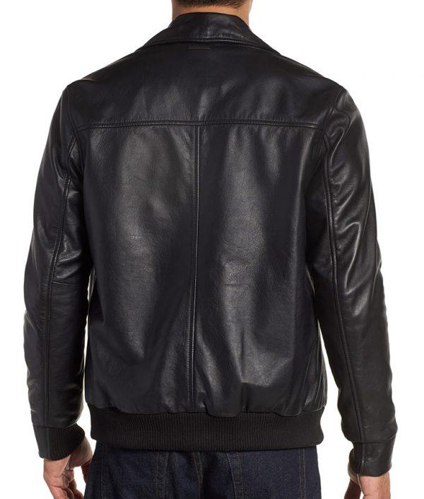 Mens Turn Down Collar Slimfit Brown Bomber Leather Jacket