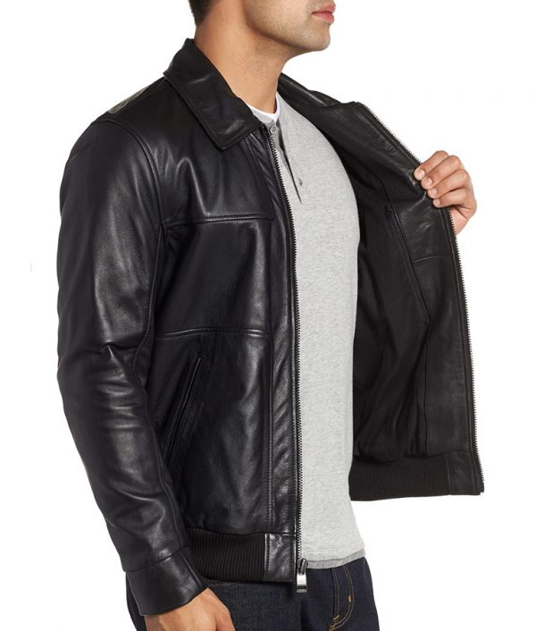 Collins Mens Turn Down Collar Slimfit Brown Bomber Leather Jacket