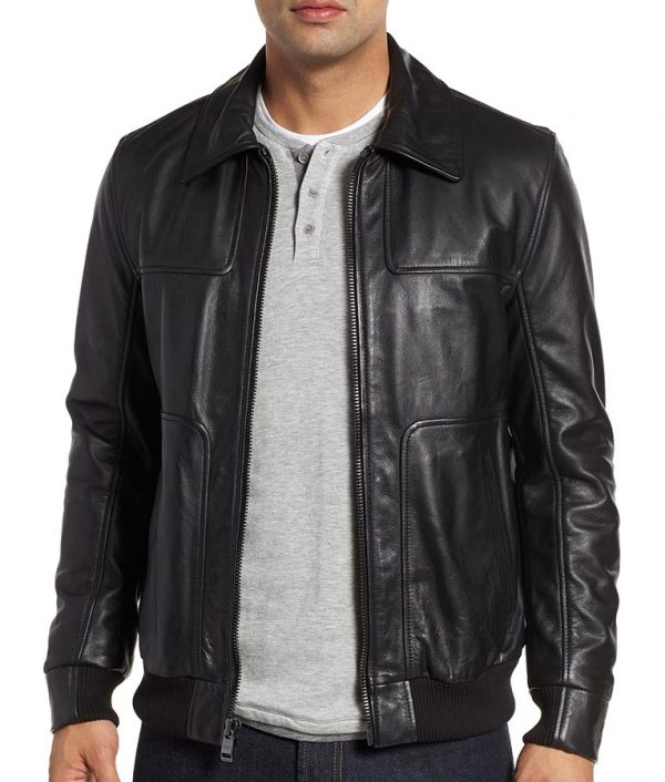 Collins Mens Turn Down Collar Brown Bomber Leather Jacket