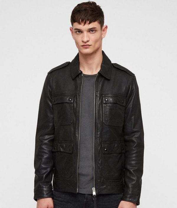 Cooney Mens Turn Down Collar Black Casual Style Leather Jacket