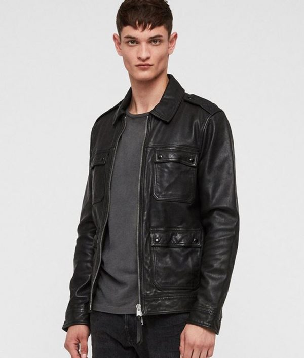 Cooney Mens Turn Down Collar Slimfit Black Style Leather Jacket