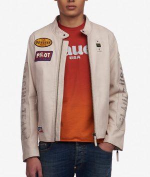 Mens Mandarin Collar Slimfit Cafe Racer Style Leather Jacket