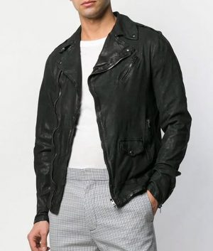 Creighton Mens Lapel Collar Slimfit Leather Jacket