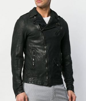 Mens Lapel Collar Black Leather Jacket