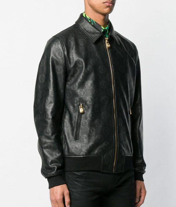 Damian Mens Casual Style Slimift Black Bomber Jacket