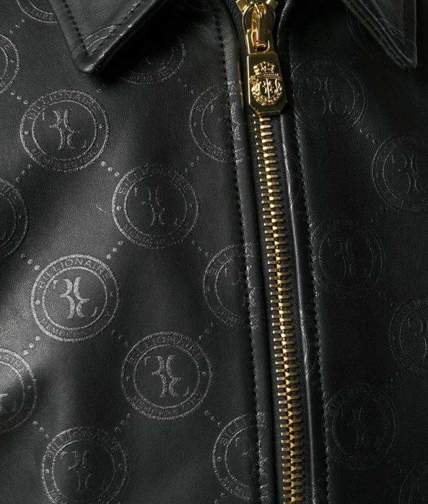 Damian Mens Casual Style Slimift Logo Print Black Bomber Jacket