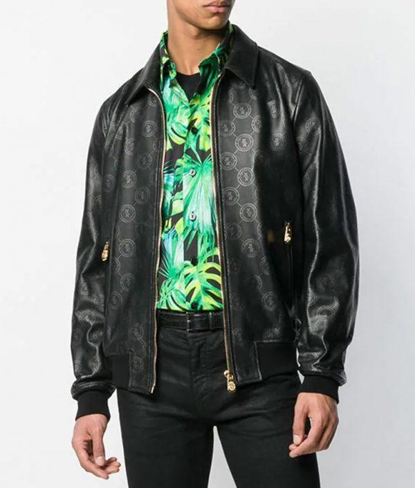 Damian Mens Style Slimift Logo Print Black Bomber Jacket