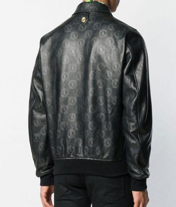Damian Mens Casual Style Logo Print Black Bomber Jacket